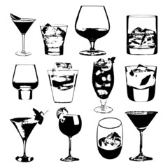 Cocktails set. Vector collection. drinking whiskey party menu