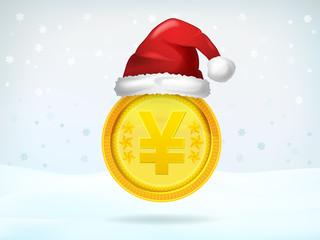 golden Yuan or Yen coin covered with Santa cap