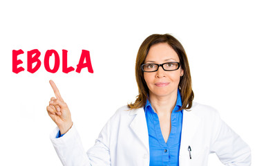 Doctor healthcare professional pointing at ebola warning message