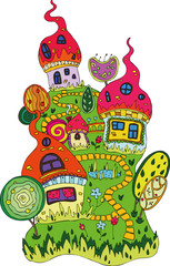 postcard perfect fairy magic colorful houses