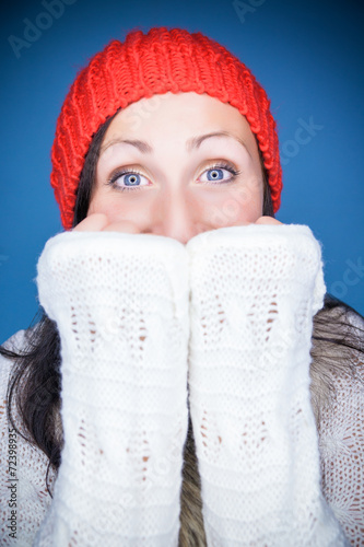 canvas print picture cold time winter woman