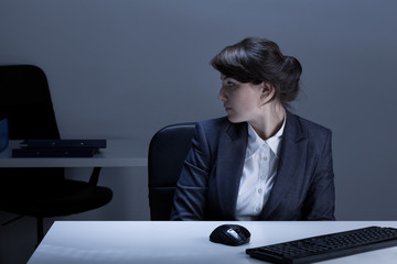 Office worker being alone