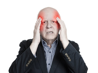 Headshot elderly man having headache sad face expression