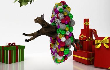 Natale, Gatto, Regali, Albero, Festa