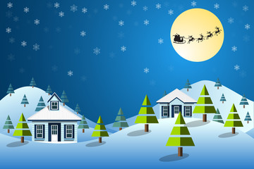 Christmas background with home in winter landscape