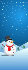 Christmas banner with snowman in winter landscape