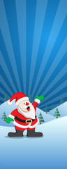 Christmas banner with santa claus in winter landscape