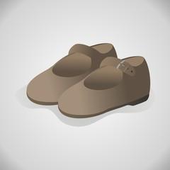 Zapatos niña fondo gris
