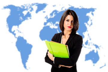 executive woman over world map