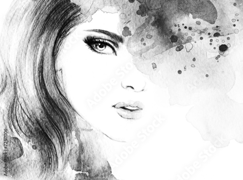 Woman face. Hand painted fashion illustration - 72401106