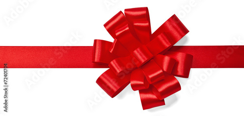 Red satin bow - 72401704