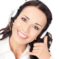 Support phone operator with call me gesture, on white