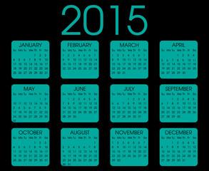 Calendar 2015 Blue Square Vector