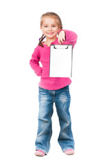 Little girl with white board
