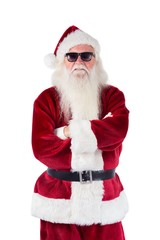 Santa Claus wears black sunglasses