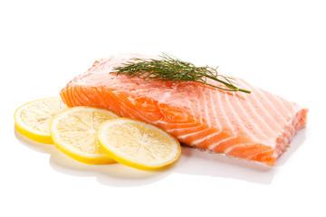 Fresh raw salmon fillet on white background