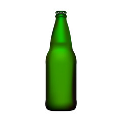 empty green beer bottle with cap vector isolated