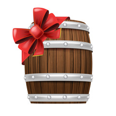 beverage cask with red festive bow wrapping vector isolated