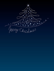 Christmas dark blue background with Christmas tree and stars