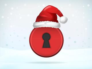 Xmas access padlock covered with Santa cap
