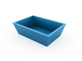 Blue bowl rendered isolated on white
