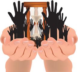 mani che aspettano sostegno