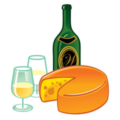 Cheese and Wine - food and drink illustration