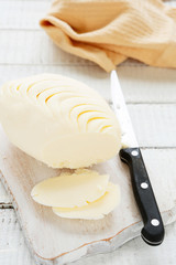 homemade butter and knife