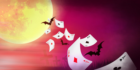 Halloween banner with cards falling, bright moon and bats