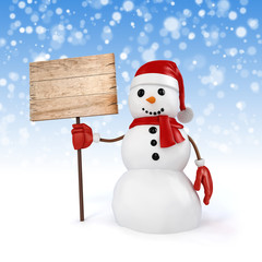 3d happy snowman holding a wooden board on snowflakes background