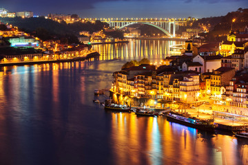 Porto city in the night