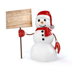 3d happy snowman with wooden board sign on white background