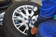 car wheel tyre air pressure check - 72407174