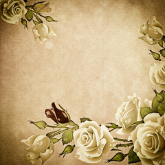 Grunge background with rose.