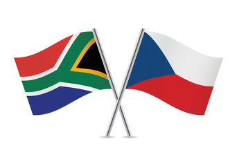 Czech and South African flags. Vector illustration.