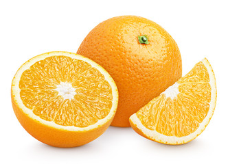 Orange citrus fruit with cut on white with clipping path