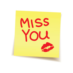 miss you note on post it