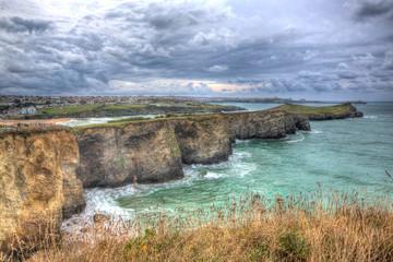 Newquay coast view Cornwall England UK HDR
