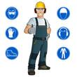 Trabajador con señales de obligación - 72408176