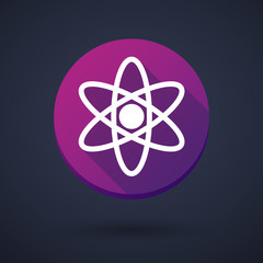 Long shadow icon with an atom