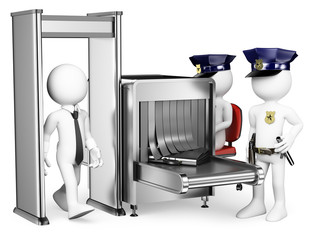 3D white people. Security control airport access. Metal detector