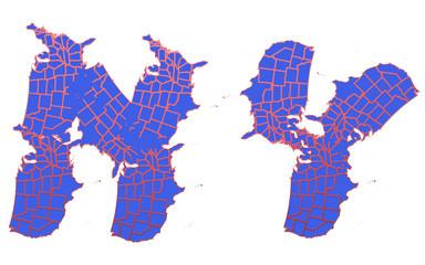 USA map New York