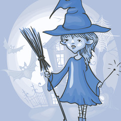 Witch Girl With Bat And Broom