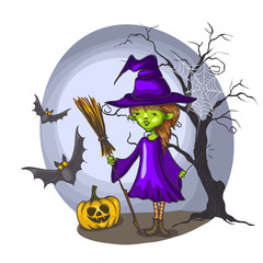 Cartoon Witch Girl With Bat, Broom And Pumpkins