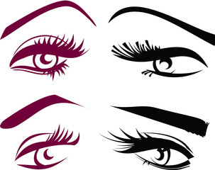 Beautiful girls eyes and lashes set