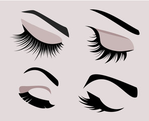 Beautiful female closed eyes set