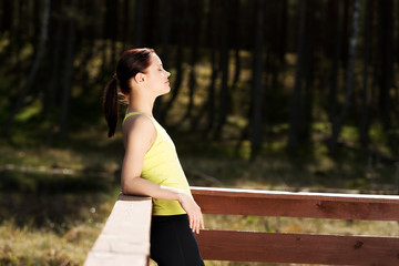 Woman relaxing after running