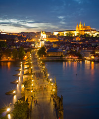 Cityscape of Prague with Castle and Charles Bridge at night, Cze