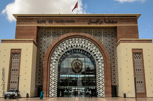 Staande foto Treinstation Eingangsportal Bahnhof Marrakesch