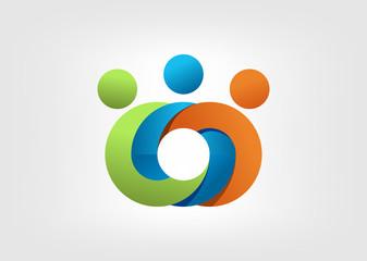 Logo business Partnership teamwork media sign symbol